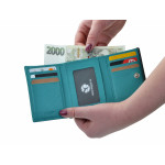 Dámska kožená peňaženka SEGALI 61420 tyrkysová/modrá